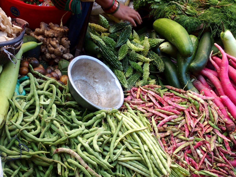 Etal légumes marché Kalimpong Inde