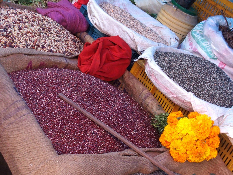 Jolis sacs de riz marché Kalimpong Inde