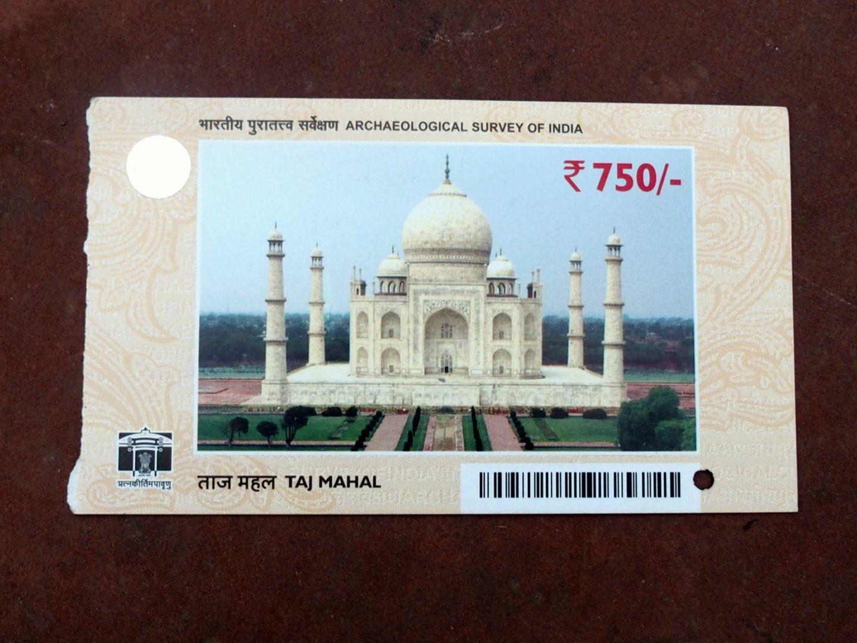 Ticket d'entrée au Taj Mahal Inde