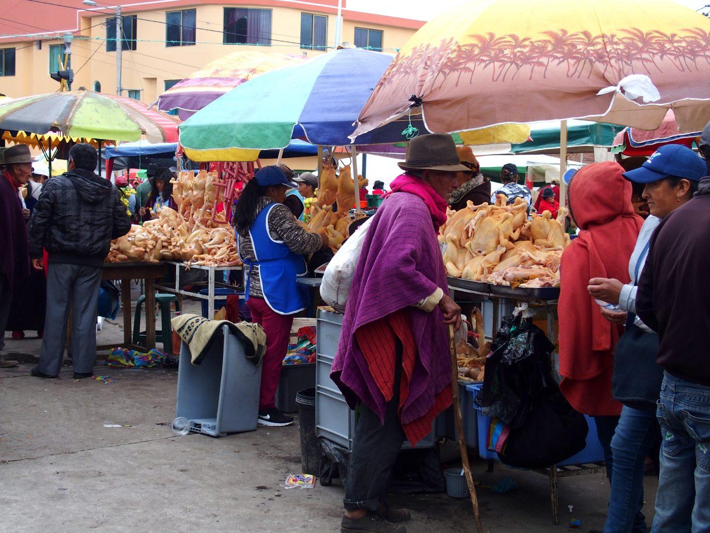Stands volaille marché de Guamote Equateur