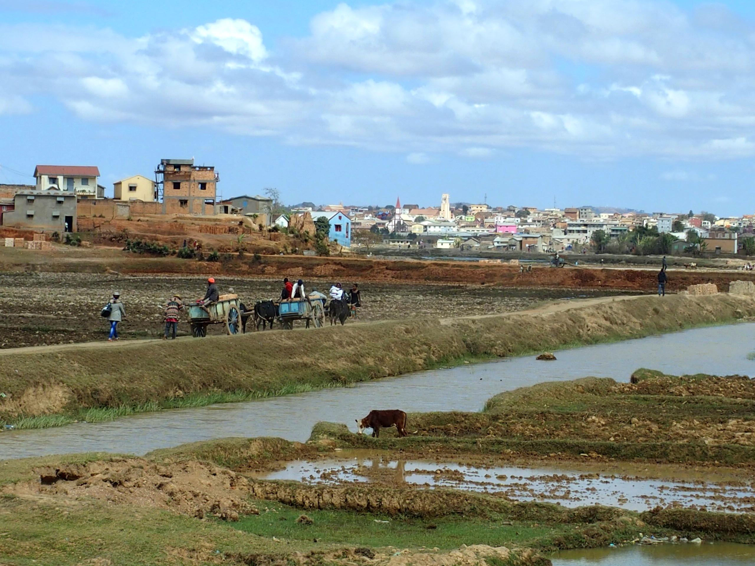 Sur la route à la sortie de Tananarive Madagascar