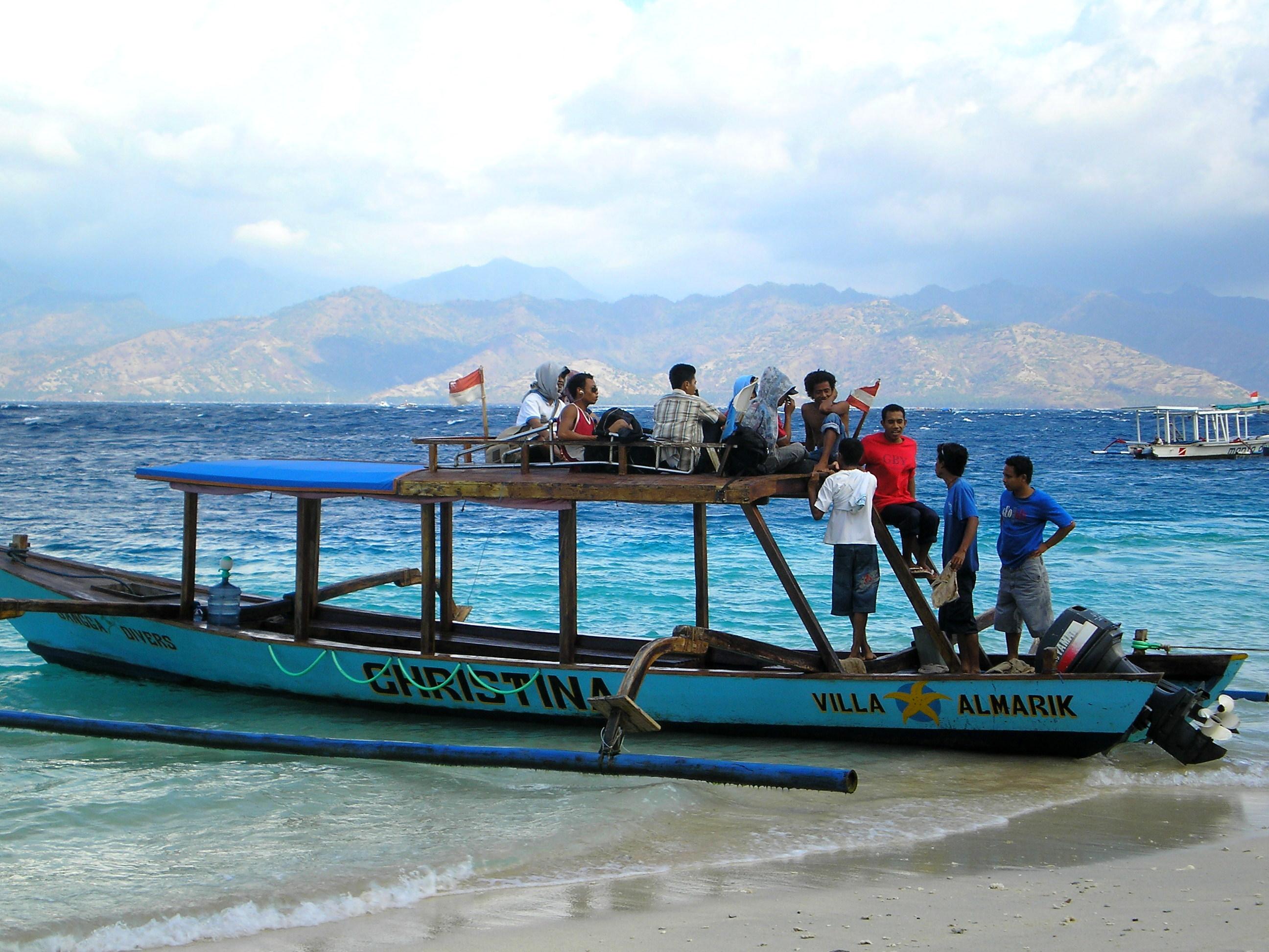 Bateau pour les îles Gili Lombok.