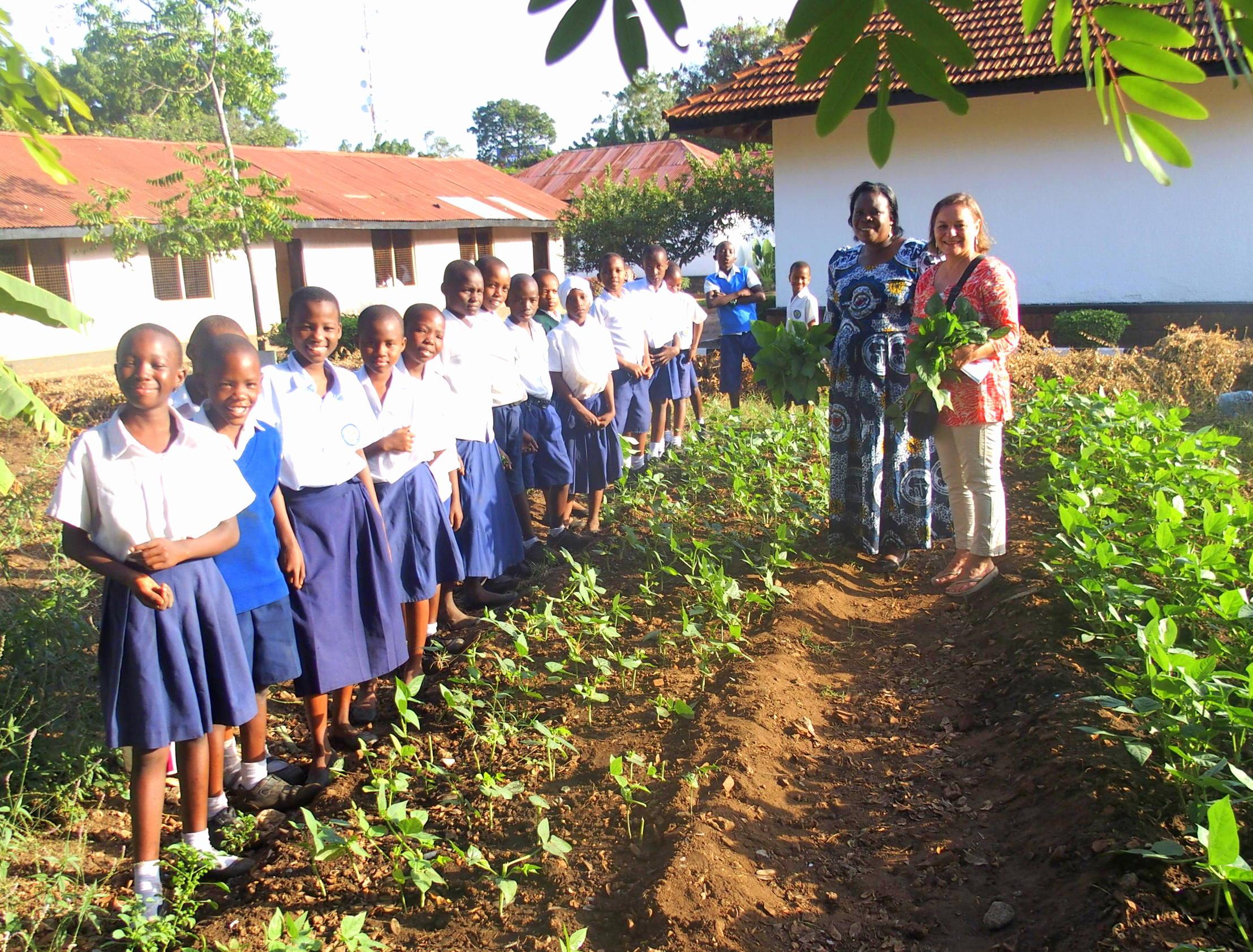 Jeunes élèves dans le potager de l'école Tanzanie