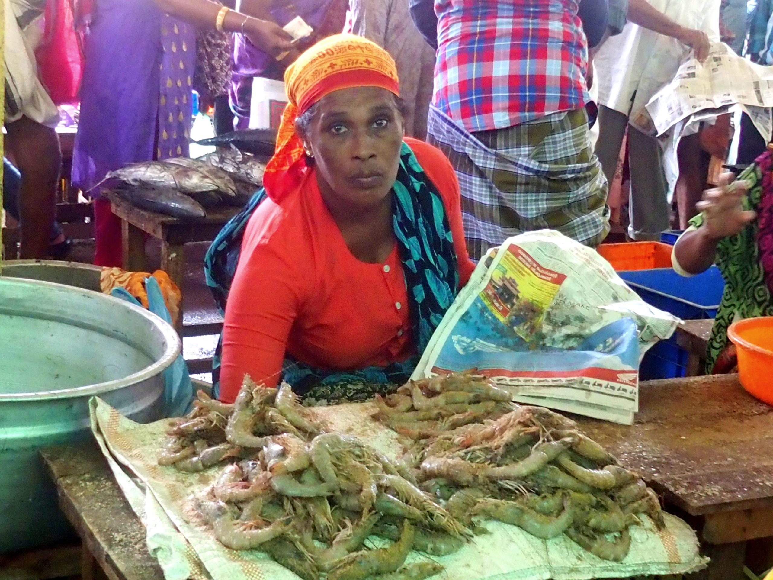 Marchande crevettes marché Vishram Inde
