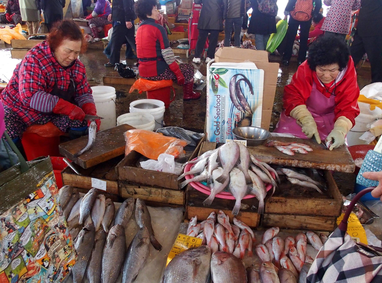 Marché aux poissons Busan Corée du sud.