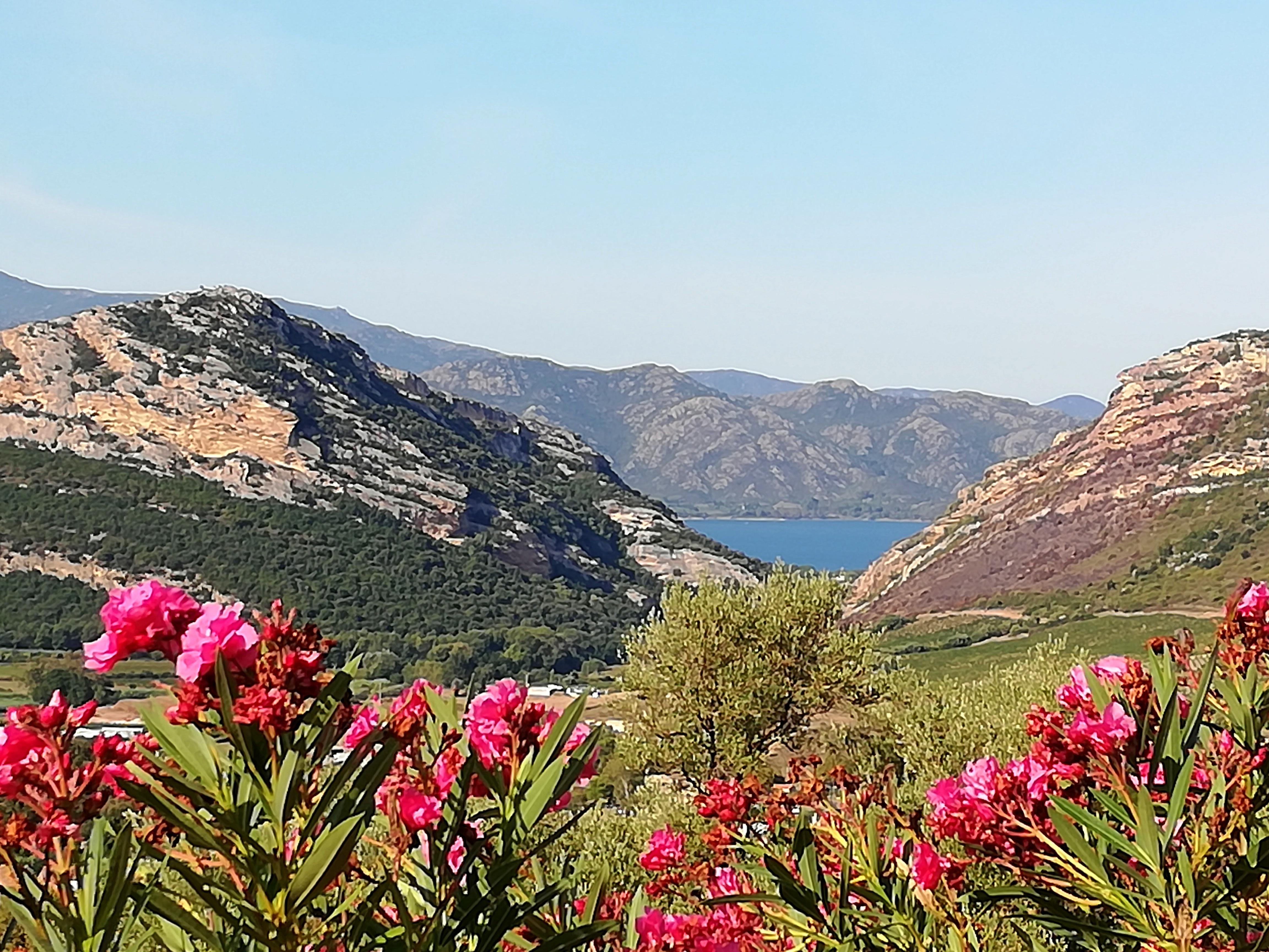 Slow tourisme dans environs de Patrimonio Corse entre mer et montagnes.