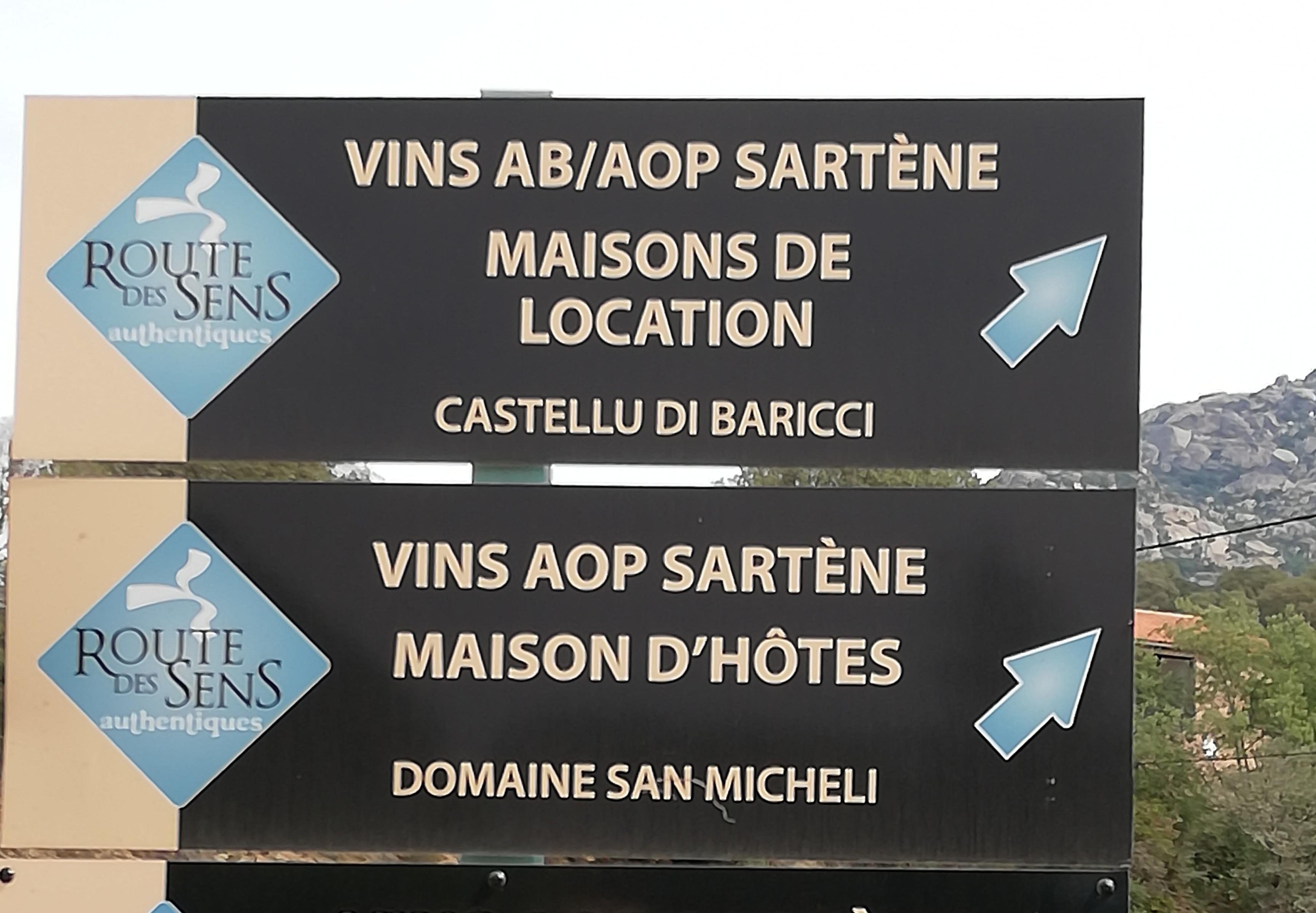 Vins et maison d'hôtes Route des sens Corse