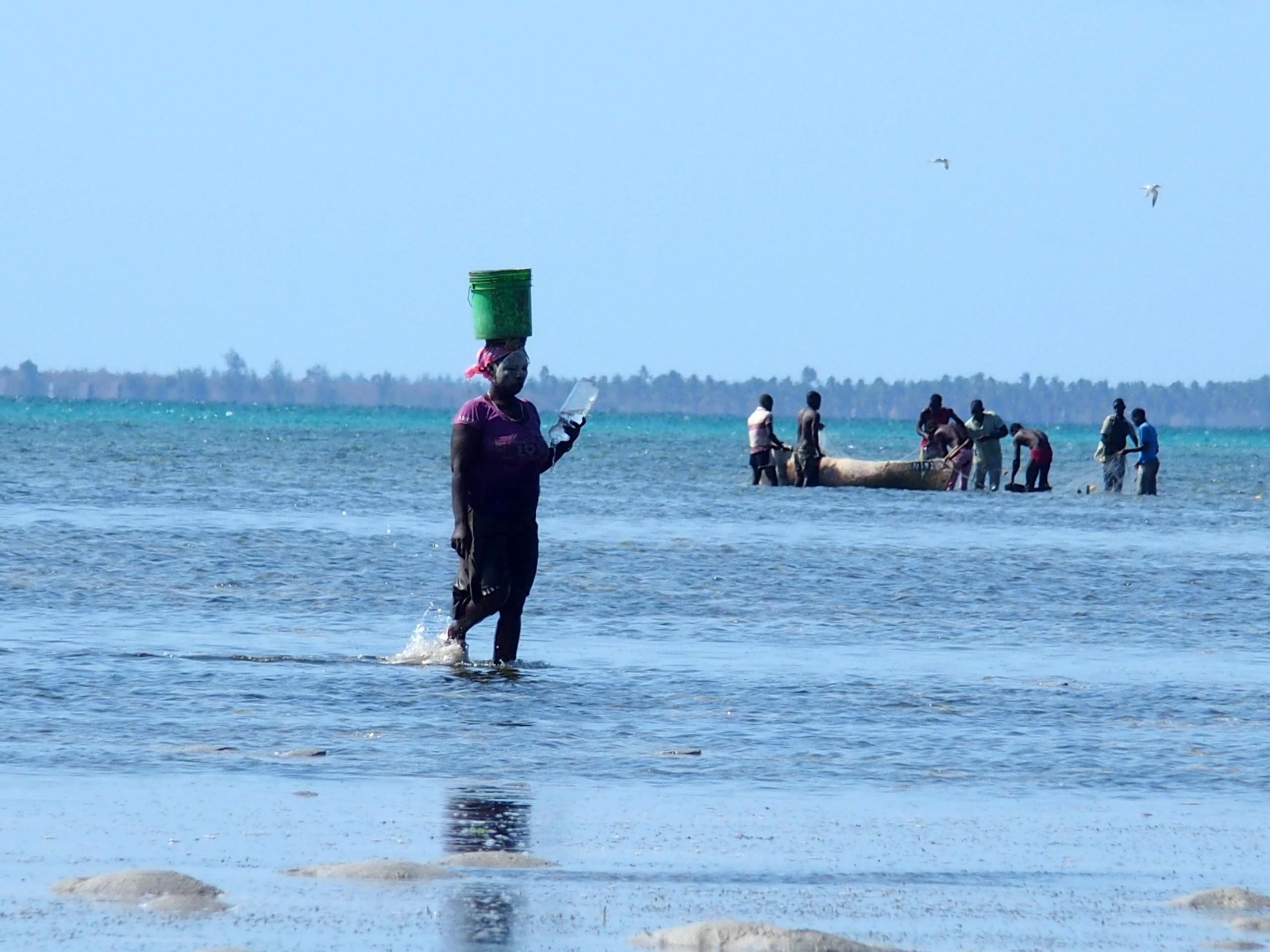Homme et femmes à la pêche Mozambique