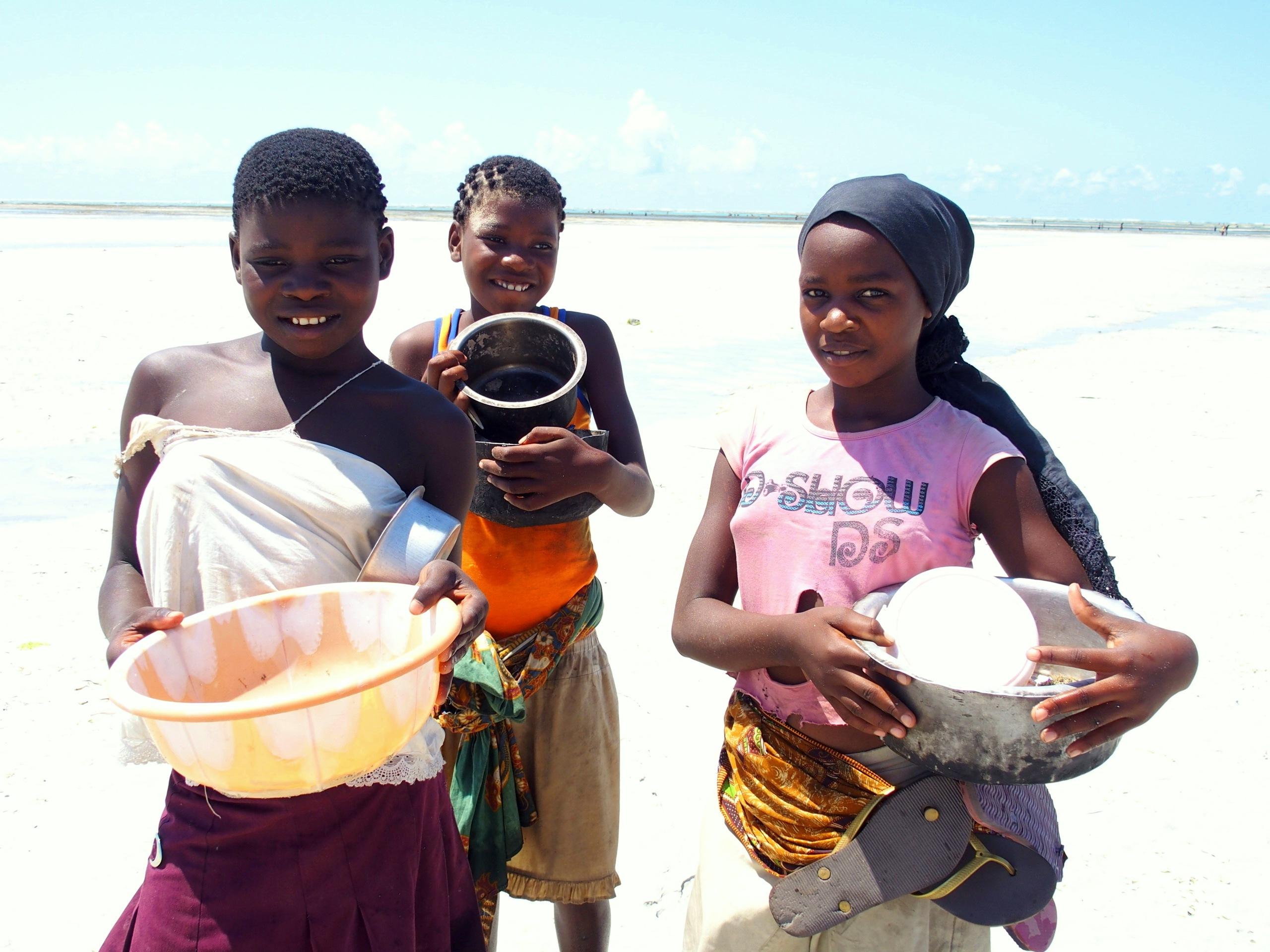 Jeunes ramasseuses de coquillages Mozambique