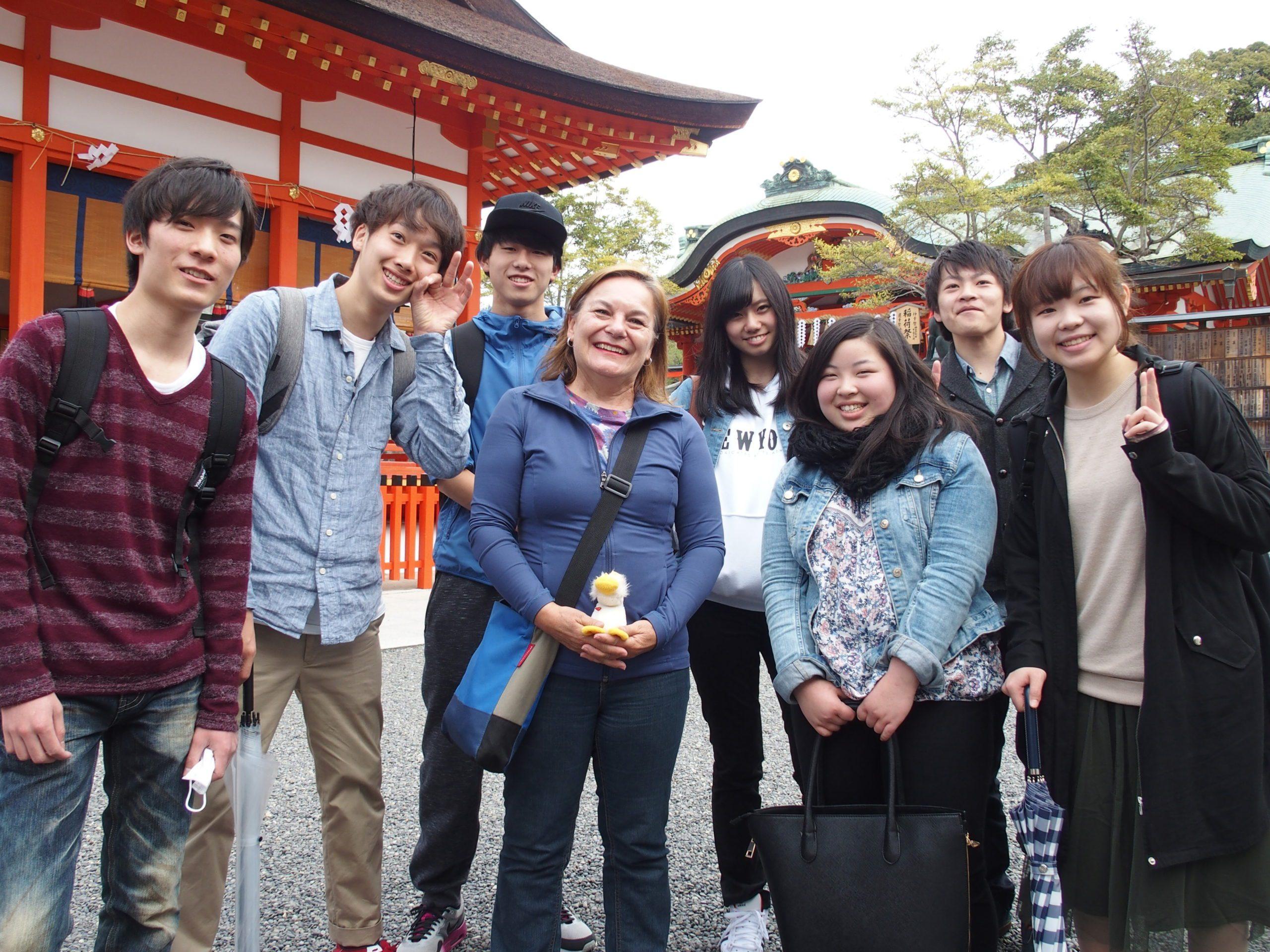 Avec un groupe d'étudiants à Kyoto