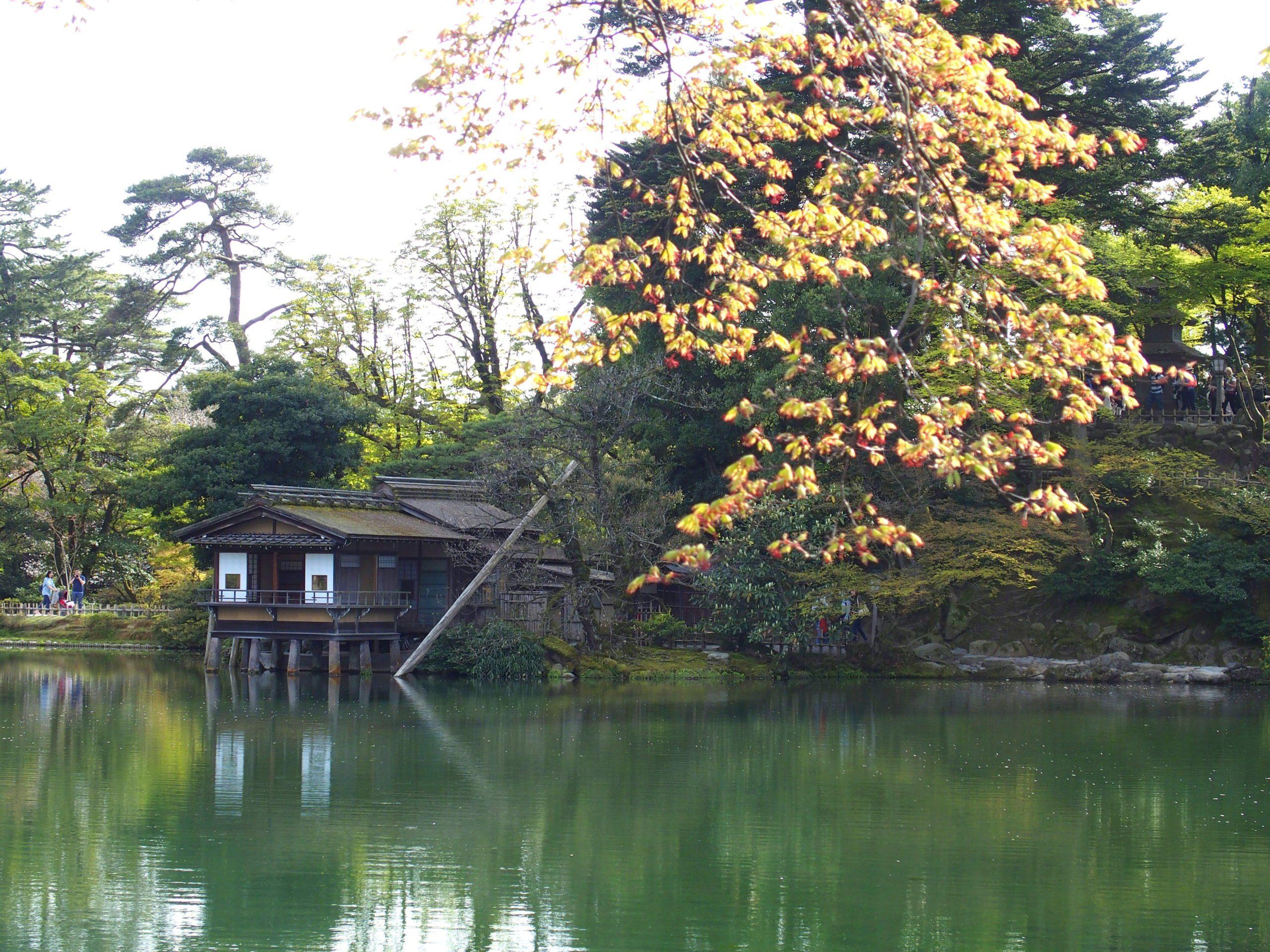 Maison de thé sur l'étang jardin Kenrokuen Kanazawa Japon