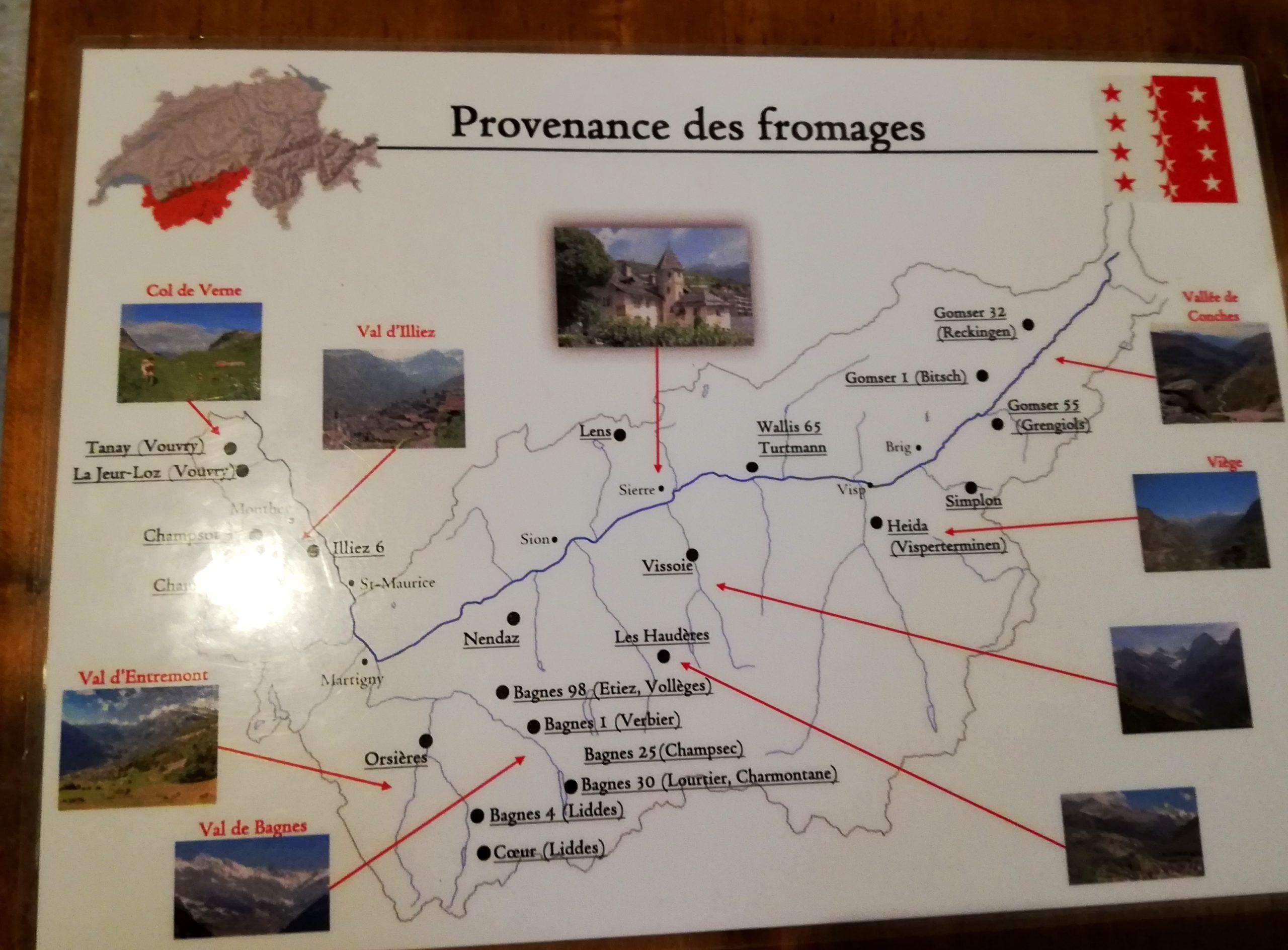 Carte des fromages à raclette Château de Villa Sierres Suisse