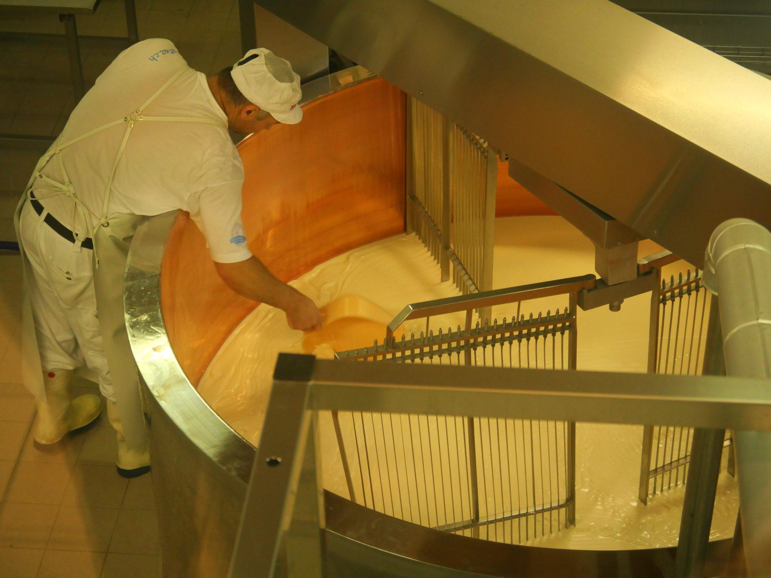 Lait dans la cuve fromagerie Etiez Vollèges Suisse