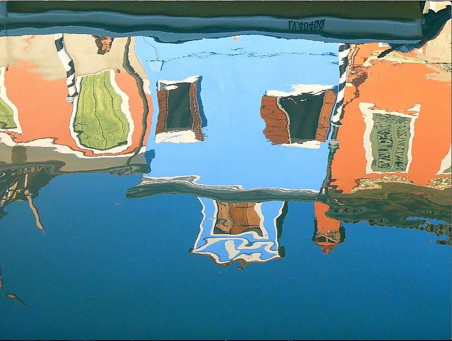 Reflet des maisons de Burano Italie